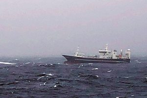 Síldarvinnslan's pelagic vessel Börkur fishing for blue whiting west of Iceland. Image: SVN/Helgi Freyr Ólason - @ Fiskerforum