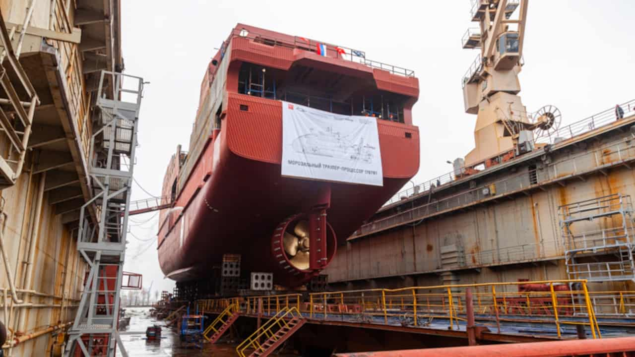 Norebo trawler floated off at St Petersburg yard