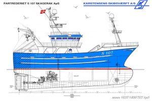 Shrimp trawler Skagerak is due to be delivered in January 2020. Image: Karstensens Skibsværft - @ Fiskerforum