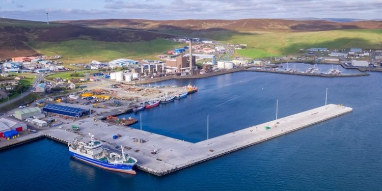 Completion of a new fishmarket at Mair's Quay will transform the Holmsgarth area into a new fishing hub at Lerwick Harbour. The market location is centre left beyond the dock. Image: Simon Thompson