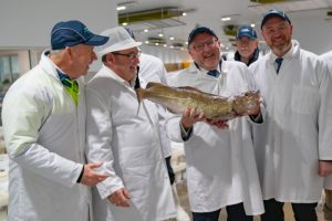 Secretary of State for Scotland David Mundell during today's visit to Peterhead fish market. Image: SFF - @ Fiskerforum