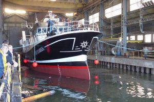 Patron Jean Tabourel launched at the yard in Boulogne. Image: Socarenam - @ Fiskerforum