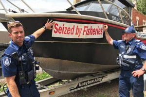 Fishery officers impounded the boat used for illegal fishing. Image: Victorian Fisheries Authority - @ Fiskerforum