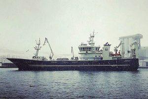 Börkur docking with 2100 tonnes of blue whiting on board. Image: SVN/Helgi Freyr Ólason - @ Fiskerforum